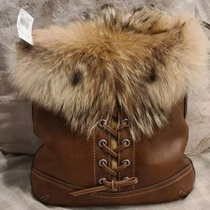COACH Limited Winter Ed. Lace Leather Coyote Fur